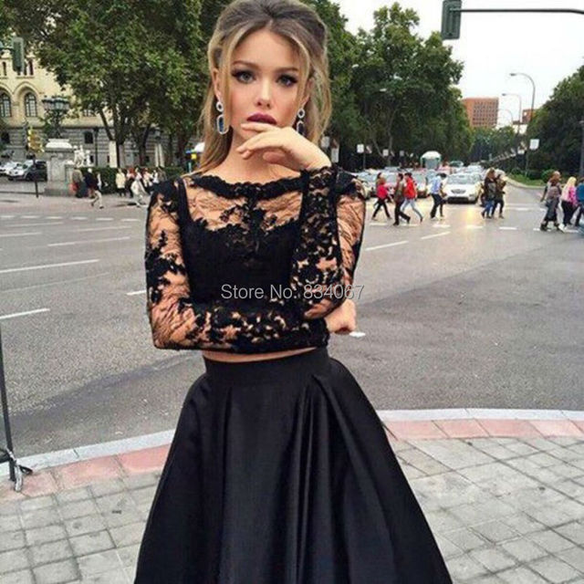 9056f505ef7 Black Color 2 Piece Prom Dresses with Long Lace Sleeves 2017 A line Satin  Skirt Evening Party Gown robe de soiree longue