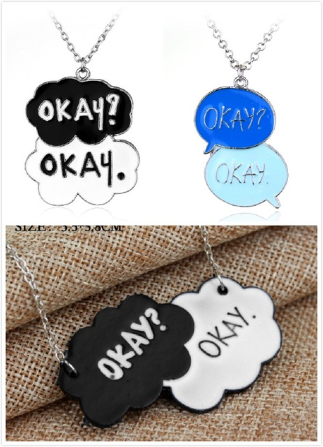 The Fault In Our Stars Okay? Okay Tumblr Silver Pendant Statement Necklace  John Green Jewelry