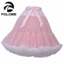 FOLOBE Pink Tulle Skirt Vintage Tutu Skirts Womens Knee Length Lolita Ballet Party Skirt faldas de tull Mujer Saias Jupe
