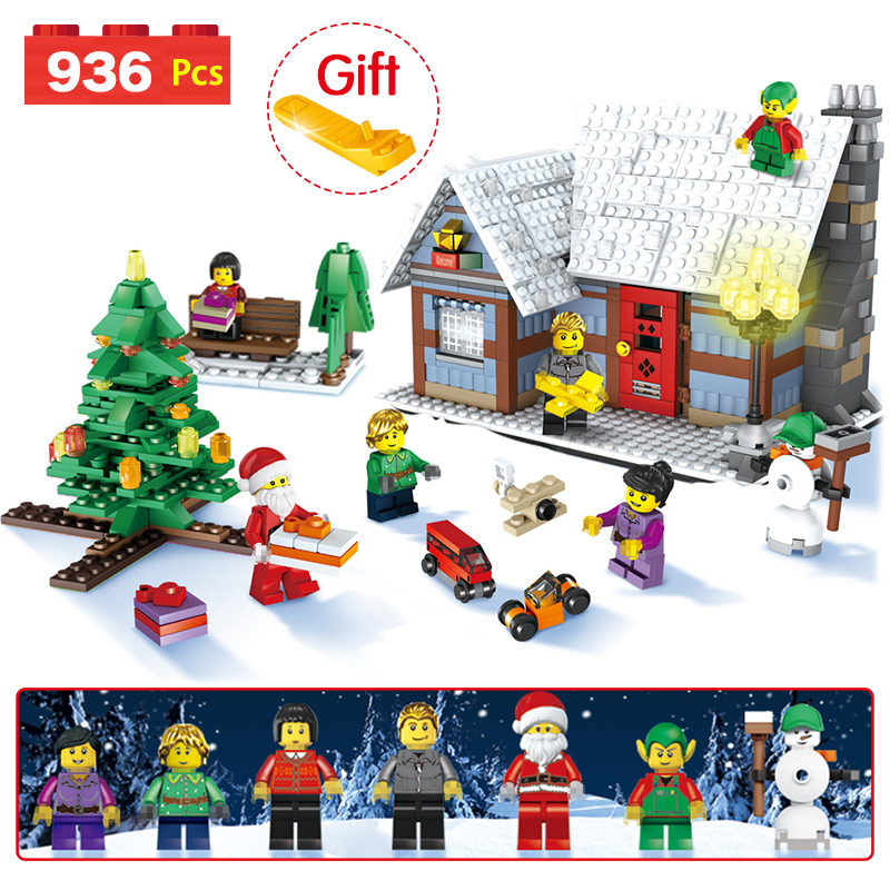 2018 Christmas Tree Compatible LegoINGLY Christmas Snowman Winter Village Cottage Building Blocks Brick Toy Gift 936pcs christmas snowman pattern door stickers