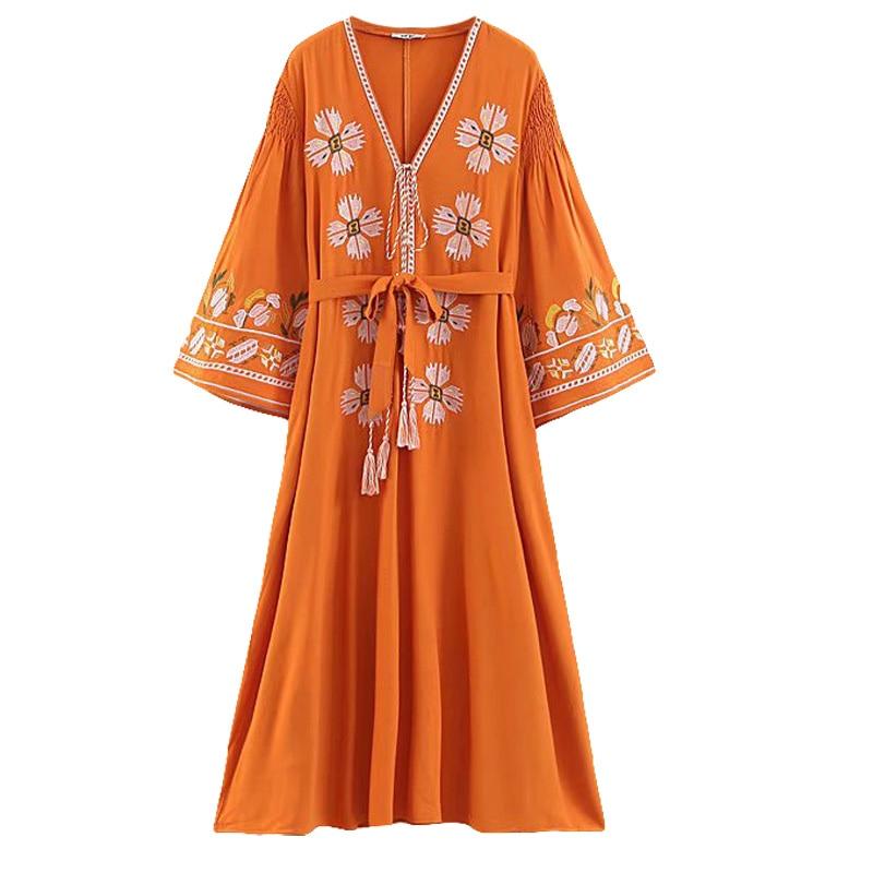 Vintage Floral Embroidery Ladies Dress Cotton Linen Flare Sleeve With Belt dress Women Vestidos Autumn Casual