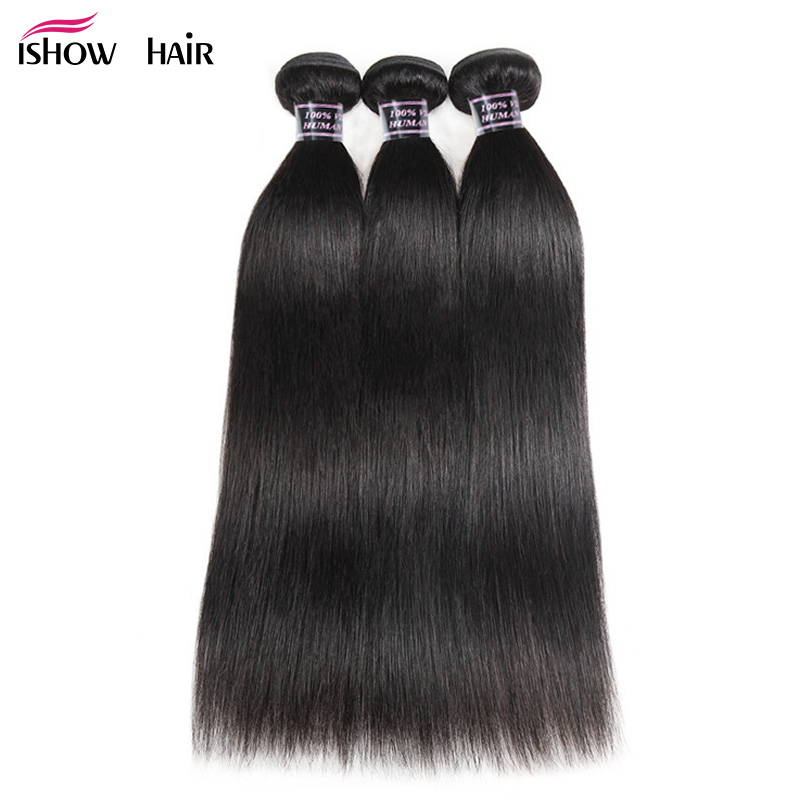 Ishow Malaisiens Cheveux Raides Bundles 100% de Cheveux Humains Weave Bundles naturel Couleur Non Remy Cheveux Extensions Acheter 3 ou 4 faisceaux