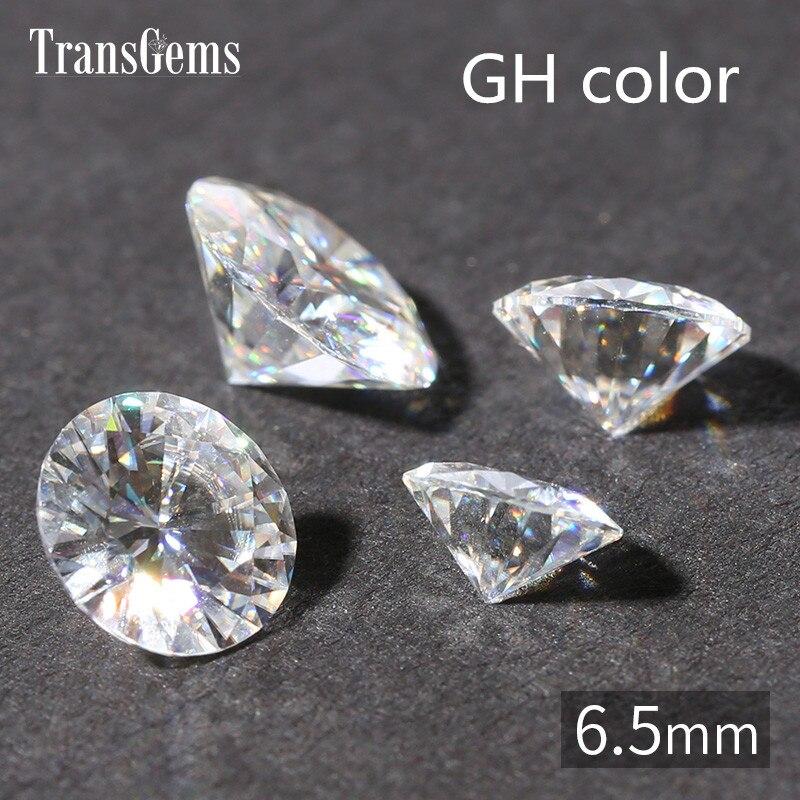 TransGems 1 Pièce 1ct Carat 6.5mm GH Couleur Ronde Coeurs et Arrrows Cut Lab Grown Moissanite Diamant pour les Bijoux faire