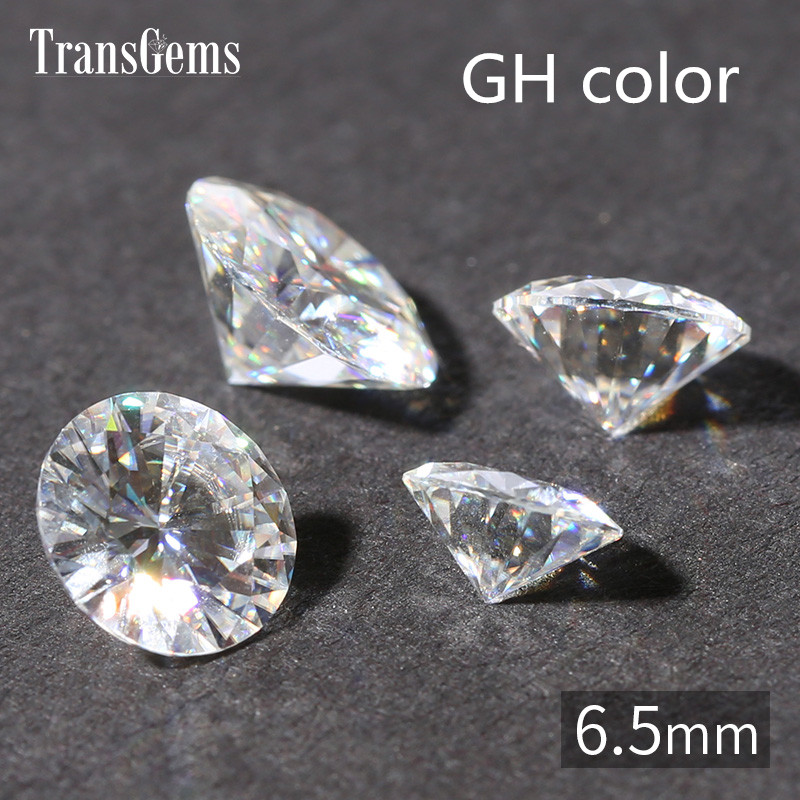 TransGems 1ct Carat 6.5mm GH Color Round Brilliant Cut Lab Grown Moissanite Diamond Test Positive 1piece transgems 18k white gold 0 5 carat 5mm lab grown moissanite diamond solitaire pendant necklace for women jewelry wedding