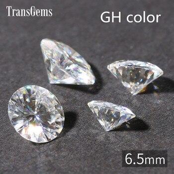 Transgems 1 Buah 1ct Karat 6.5 Mm GH Warna Bulat Hati dan Arrrows Cut Lab Tumbuh Moissanite Berlian untuk Perhiasan membuat