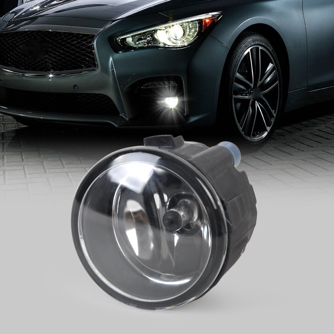 beler Right / Left Fog Light Lamp with H11 Halogen 55W Bulb Assembly 261508993B, 261508992B for Nissan Juke Rogue Infiniti EX35