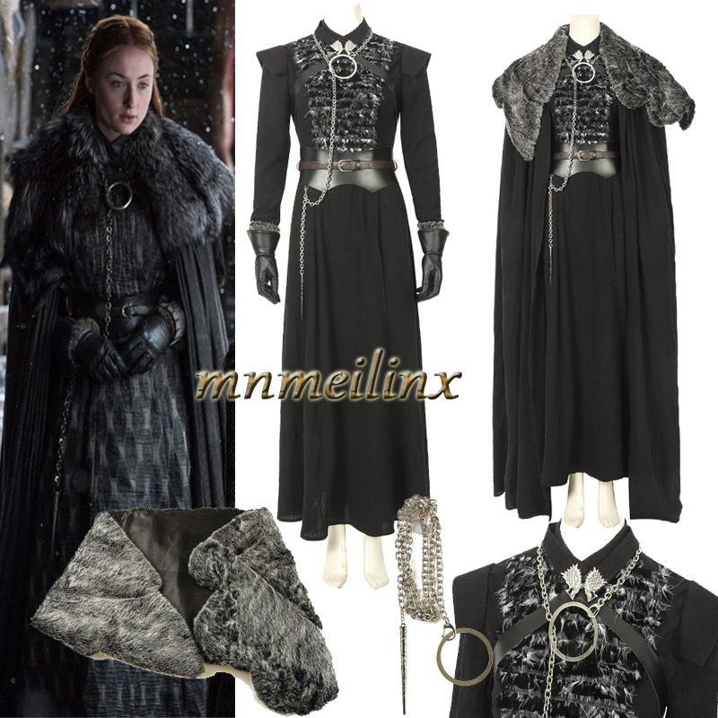 Halloween Fancy Suit From Game of Thrones Season 8 Cosplay Costume Sansa Stark Customize Outfit Accessories Full Set Unisex