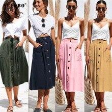 NEEDBO Women Skirt Cotton A-Line Midi Skirt High Waist For Women Summer Autumn Knee-Length Elegant Button Female Skirt