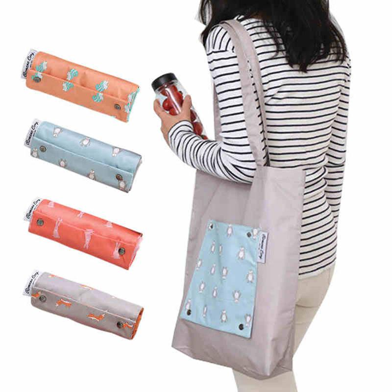 цена на Ladies Grocery Foldable Casual Shopping Bag Storage Reusable Eco Tote Bag Handbag Reusable Folding Shopping Bag