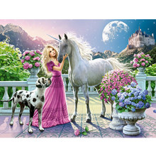 5d diamond painting round diamond princess and horse diy diamond embroidery home decoration art wall sticker(China)