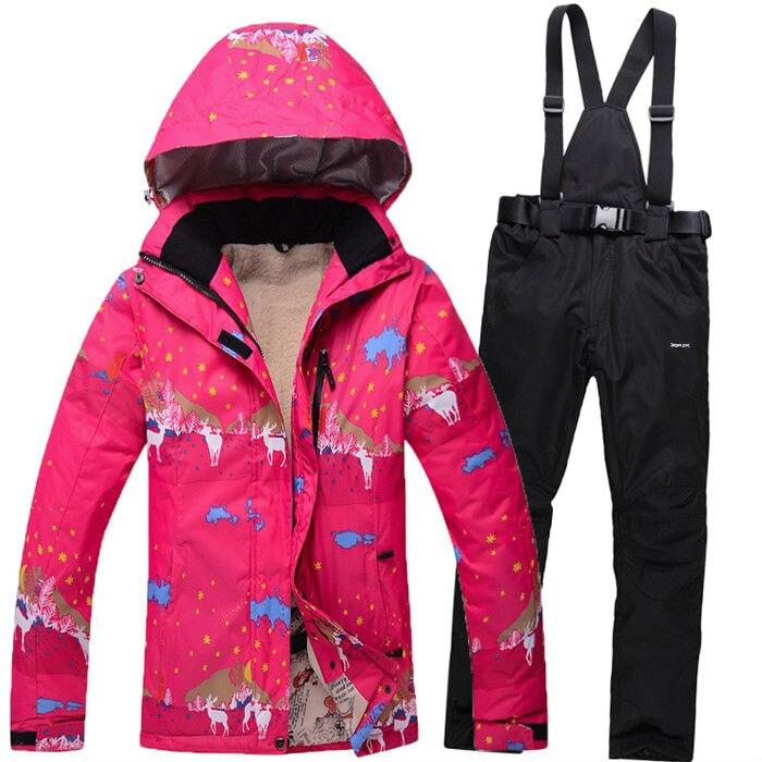 Prix pour 2016 Hiver Femmes Skiinng Vestes Costume Coupe-Vent Imperméable Femmes Ski Veste + Pantalon Épaissir Respirant Sportswear Ensemble q1SKT07