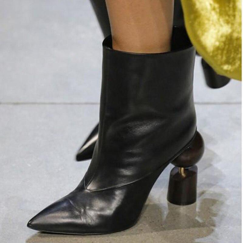 Martin Photo Frau Dame Rot Schwarz Gold weiß Stiefeletten Echt 2018 Leder Mode Runway High Spitz Seltsame Heel gold rot Stiefel As grau FTEqZEAw
