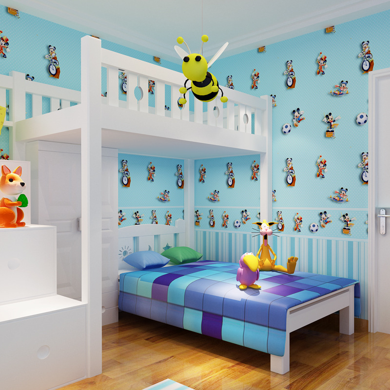 Blue kids wall paper for walls Lovely Cartoon Mouse Non-woven Wallpaper Roll Modern wallpapers for Bedroom Girls wallpapers beibehang friendly lovely cartoon cars wallpapers roll kids room decoration wall paper roll non woven boys bedroom wallpaper