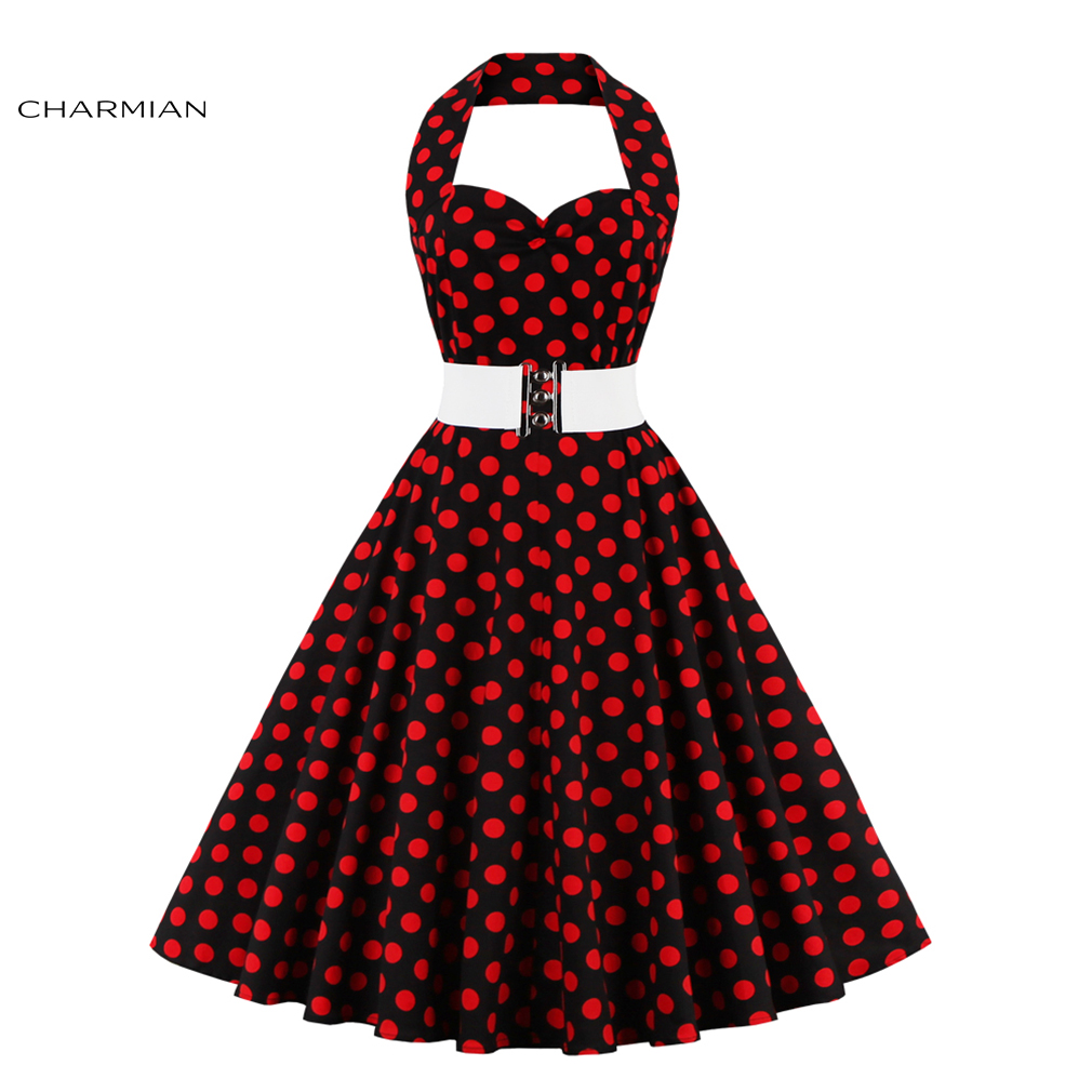 Christmas dress casual - Charmian Women S Halter Vintage Dress Plus Size Polka Dot Belted Sexy Christmas Dress Party Casual Swing