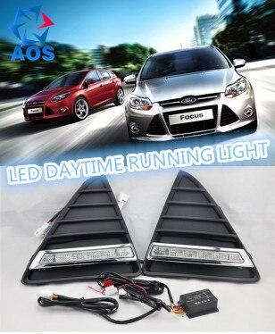 2 шт./компл. Тюнинг автомобилей Авто LED DRL Дневной автомобилей дневного Бег огни комплект с противотуманные лампы для Ford Focus 3 2012 2013 2014 2015