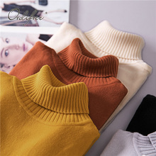 Ordifre 2019 Autumn Winter Jumper Women Sweaters and Pullovers Long Sleeve White Slim Turtleneck Knitted Sweater Pull Femme