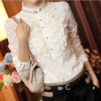 Autumn And Winter New Korean Slim Was Thin High Quality Lace Shirt Plus Velvet Long Sleeved