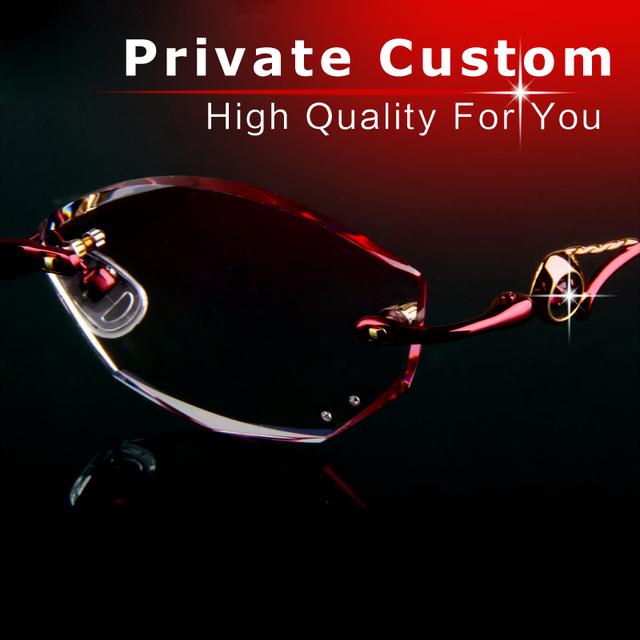 Óculos de luxo personalizado Privado graus mulheres de alta qualidade Sem Moldura óculos Anti-fadiga óculos de forma clara óptico 717-1