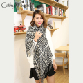Winter Women Fashion Scarves and Shawls Winter Acrylic Knitted Houndstooth Plaid Blanket Scarf Lady Tassel Oversize Echarp Femme