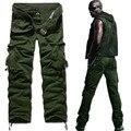 Novos homens verão calça casual lavagem 100% macacão de algodão de alta qualidade calças de design de Carga, Preto, Cáqui, ArmyGreen, K758