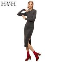 HYH HAOYIHUI Dark Grey Side Split Women Dress Brief Crew Neck Long Sleeve Vestidos Elegant Bodycon
