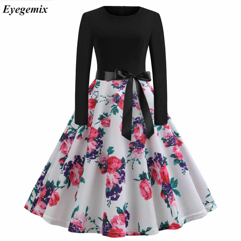 2019 Nota Musical Impressão Vestidos de Festa Elegante Mulheres 60 50 s s Robe Rockabilly Retro Vintage Vestido Plus Size Casual inverno Vestido Midi