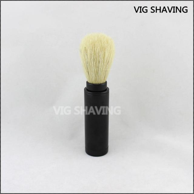 Black Aluminium  Boar Bristle Travel Brush for men Shaving