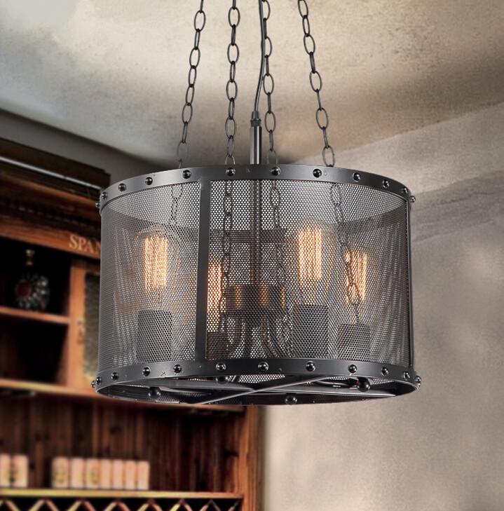 Loft Style Industrial Retro Iron Net Bar Pendant Light Creative Simple Restaurant Round Pendant Lamp Free Shipping talent designer loft retro bar restaurant bar iron warehouse european simple industrial control creative pendant light