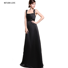 Cheap Free Shipping Vintage Evening Dresses Long 2019 New Floor-length Formal Dress Plus Size Black Satin Gown For Women
