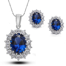 Elegant Oval Princess Diana William Pendant Necklace for Women Charms Jewelry