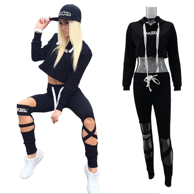 Lace Up Crop Top Hooded Suit Set 2019 Women Tracksuit Two-piece Sport Style Outfit Jogging Sweatshirt Fitness Lounge Sportwear