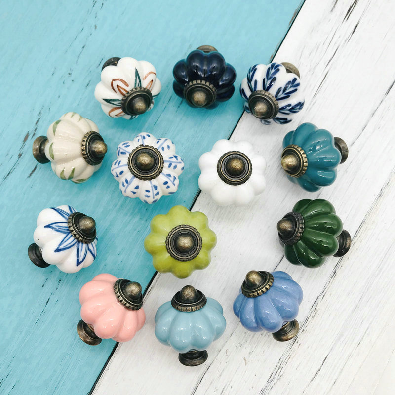 1pc Wardrobe Various Color Ceramic Hardware Ancient Style Ceramic Knobs Garden Euro-Style Retro Porcelain Drawer Door Pull Knobs
