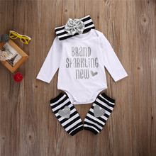 3PCS Bronzing Newborn Baby Girl Top Romper Stripe Leg Warmer Clothes Outfits Set bobo cozmo boob