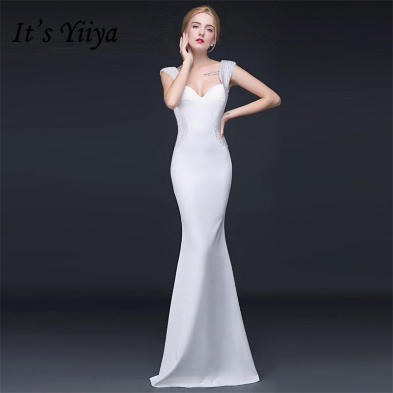 It's YiiYa Trumpet   Evening     Dresses   White Strapless Beading Sleeveless Floor-length Mermaid Dinner Vestidos CQX021 Party Gowns