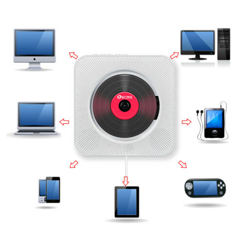 Wall Mounted CD Player Surround Sound FM Radio Bluetooth USB MP3 Disk Portable Music Player Remote Control Stereo Speaker Home 5