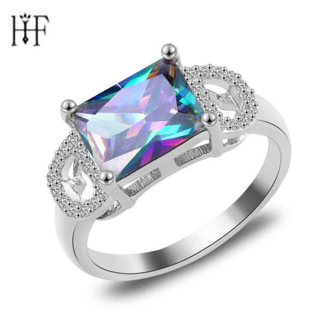 Square Elegant Silver Gold Filled Champagne CZ Ring Vintage Wedding Rings For Women 2017 Christmas Eve Gift Fashion Jewelry
