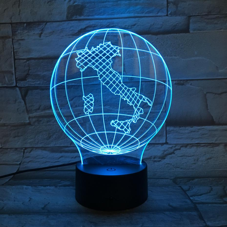 National map Italy Table Lamp desk 3D Illusion Touch Sensor 7 Color Changing Childrens Kids Baby Gifts Globe Night Light LED