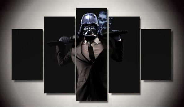 Marvelous 5 Piece Badass Vader Oil Poster Unframed Modern Canvas Painting On The Wall  Pictures For Living