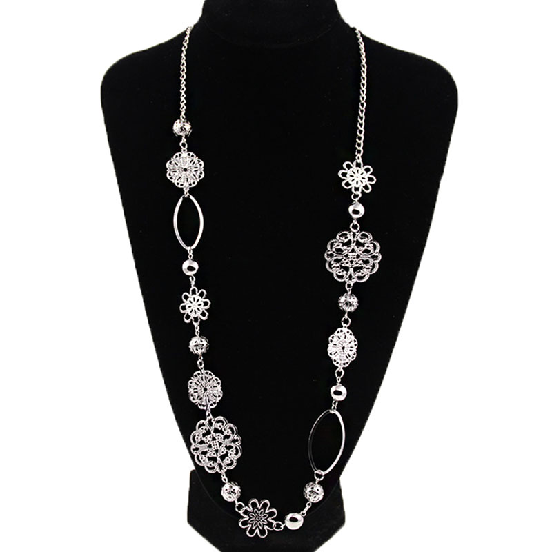 Vintage Fashion Long Necklaces For Women Bohemian Jewelry Flower Alloy Layered Statement Necklace For Women