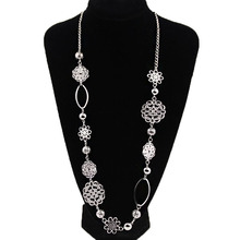 Vintage fashion long necklaces for women Bohemian Jewelry Flower Alloy Layered Statement Necklace Women