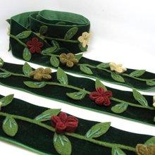 2 дюйм(ов) темно-зеленого фетра цветок бархатной отделкой   вышитые цветочные ленты   Костюмы ремень   Винтаж Костюм   швейная поставки   декоративные