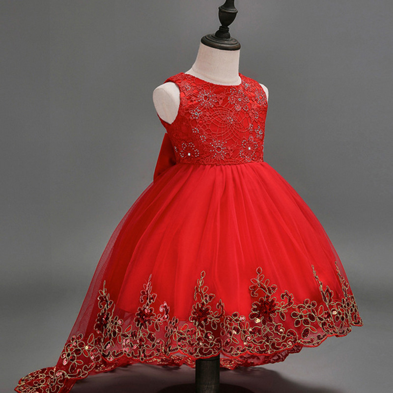 Children Kids Flower Mesh Trailing Butterfly Dress Girls Wedding Bridesmaid Ball Gown Embroidered Bow Party Dresses 88 M girls princess dress for party and wedding bridesmaid red mesh trailing lace dress kids ball gown embroidered bow dress clothing