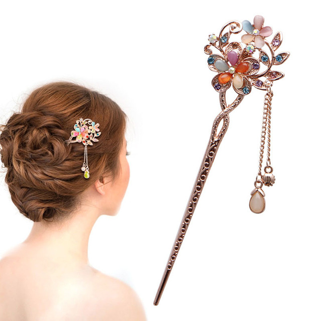 New Elegant Charm Double Flowers Bobby Pin Mixed Color Hairpin Rhinestone  Hair Stick Hot Sale cc842f1e0e37