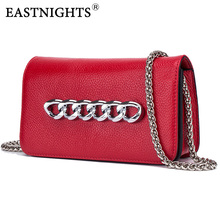 EASTNIGHTS Small Square Flap Bag Women Genuine Leather Red Chain Party Handbags Female Fashion Single Shoulder Bags with Lock