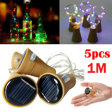 5pcs LED Solar Wine Stopper Sliver Copper Wire Lights 2M 20leds Garland String Lamp Waterproof Outdoor Garden Christmas Light