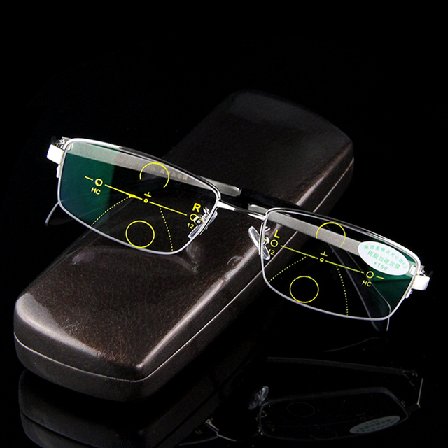 Multi-Progressiva focal Homens Óculos De Leitura Presbiopia Hipermetropia  Masculino Óculos Bifocais Assintoticamente Zoom Inteligente 131625a201