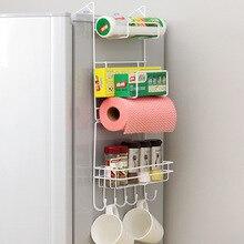 Kitchen shelf refrigerator rack side wall hangings Creative utensil storage rack seasoning storage rack tissue holder rag hook цена