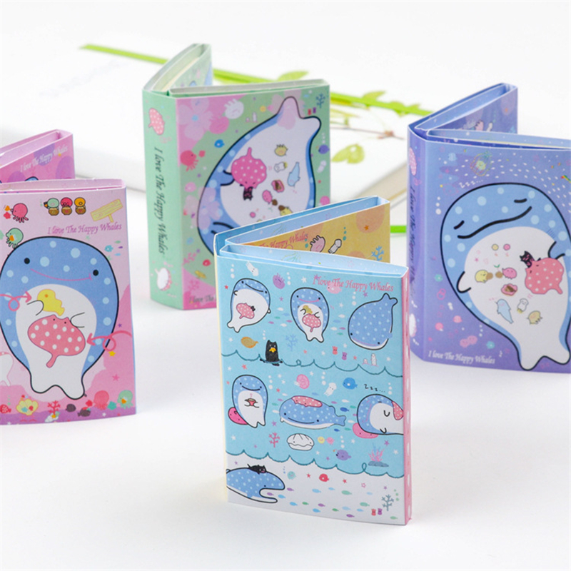 1 pcs Kawaii Happy Whale 6 Folding Memo Pad N Times Sticky Notes Memo Note pad Bookmark Gift Stationery supply 2018 pet transparent sticky notes and memo pad self adhesiv memo pad colored post sticker papelaria office school supplies