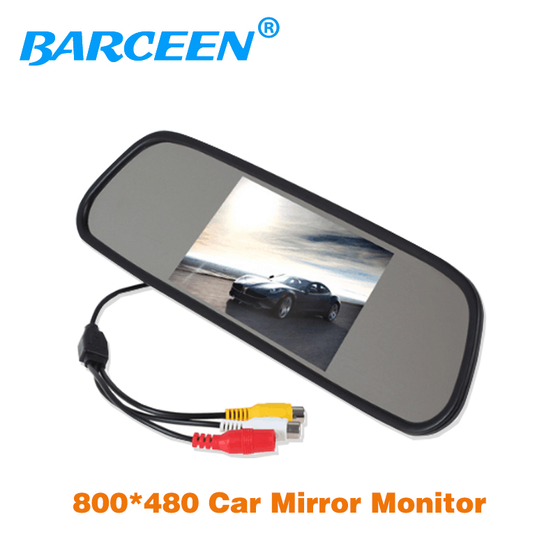 Promotion High resolution 5 Color HD TFT LCD Car Rearview Mirror Monitor 5 inch screen car Monitor for DVD Camera VCR high resolution 5 colorful screen tft lcd car rearview mirror monitor 800 480 resolution dc 12v car monitor for dvd camera vcr