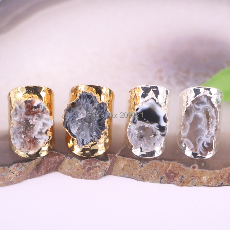 6Pcs Gold Silver Color Natural Geode Stone Rings Natural Gems Ring